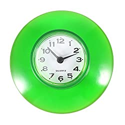 Non-Ticking Silent Wall Clock - Waterproof Quartz Digital Clock Mini Cute Design Bathroom Kitchen Mirror Suction Shower Decoration Use 6 Colors Green