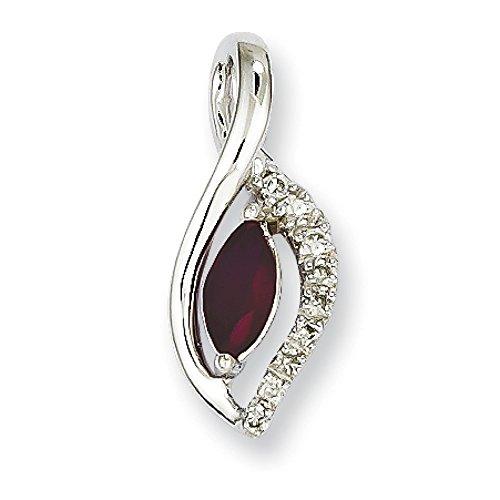 Or blanc 14 carats Rubis et diamant brut Pendentif JewelryWeb