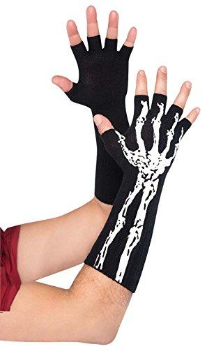 Glow in the Dark Fingerless Skeleton Gloves Costume Accessory