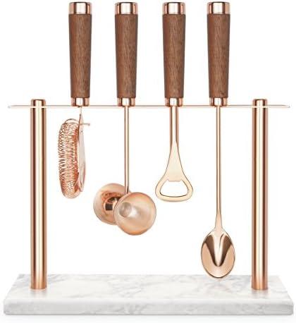 Final Touch Cocktailbar-Set aus der Copper Collection, inklusive Hawthorne-Sieb, Doppel-Barmaß, Flaschenöffner, Barlöffel und Ständer mit Marmorsockel