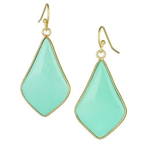 TUMBEELLUWA Crystal Quartz Stone Dangle Hook Earrings Rhombus Gold Plated, Light Green Howlite Turquoise