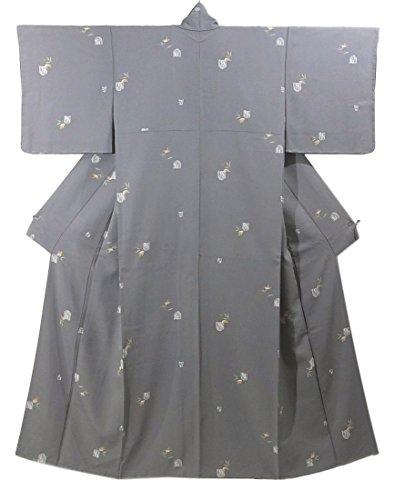 リサイクル 着物 小紋  笹に雀 正絹 袷 裄62cm 身丈159cm