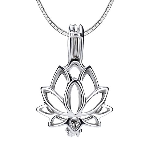(NY Jewelry 925 Sterling Silver Lotus Flower Pendants for Pearl Jewelry, Design Pearl Cage Pendants for Women DIY Jewelry Making)