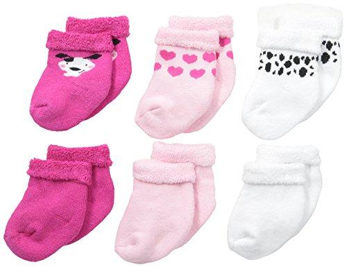 Dalmatian Booties - Gerber Baby Girls' 6 Pack Socks, Dalmatian, 12 Months