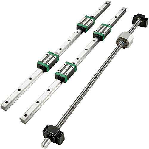 BestEquip Linear Guide Rail 2Pcs HGR20-2000mm Linear Slide Rail with 1Pcs RM1605-2000mm Ballscrew with BF12/BK12 Kit Linear Slide Rail Guide Rail Square for DIY CNC Routers Lathes Mills