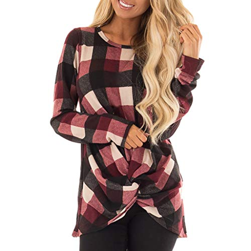 Mnyycxen Women's Casual Long Sleeve Plaid Print Blouse Round Neck Tie Top T-Shirt ()