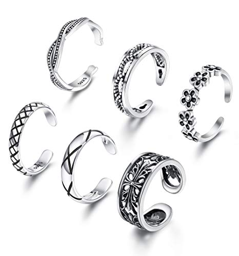 LOLIAS 7Pcs Open Toe Rings for Women Girls Toe Knuckle Ring Adjustable