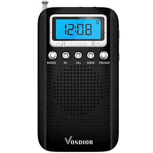 (Digital AM/FM Portable Pocket Radio with Alarm Clock- Best Reception and Longest Lasting. AM FM Compact Radio Player Operated by 2 AAA Battery, Stereo Headphone Socket, by Vondior)