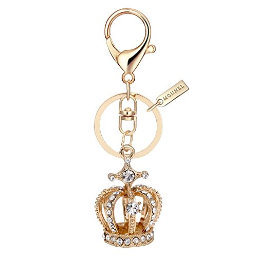 Crown Design Metal Key Chains - Bling Crystal 3D Crown Design Keychain Key Ring with Pouch Bag MZ849-1