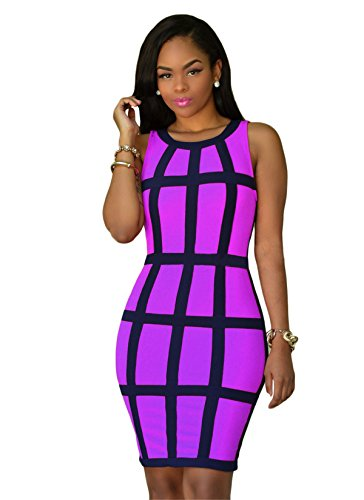 Bandage Collar Sleeveless Printed Women Purple Knitted Crew Vest Sexy Dress Nightlub Allonly wEIzXqcq