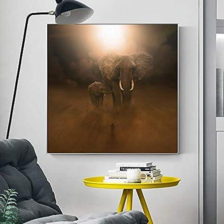 PLjVU Elefante Abstracto Moderno en el Desierto Carteles e Impresiones Arte Mural Lienzo Pintura Naturaleza Animal Fotos-Sin marco40x40cm