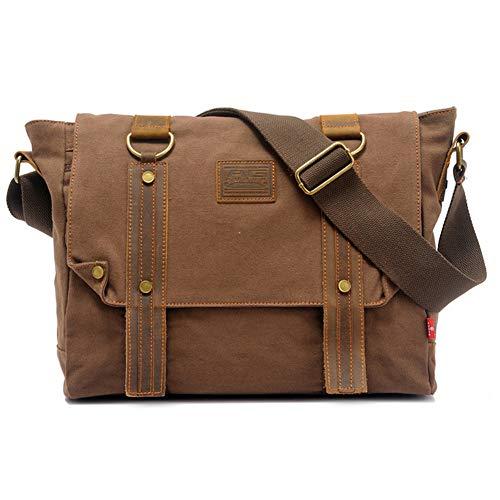 Canvas Messenger Bag 14inch Laptop Bag Vintage Bookbag For School Crossbody Satchel Messenger Bag(Coffee)
