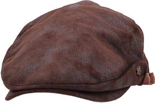 (sujii UNCLE SAM Faux Leather Newsboy Beret Ivy Cap Irish Cabbie Driver Hat/Dark Brown)