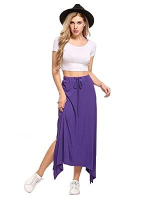 Zeagoo Women's High Waist A Line Lightweight Floor Length Beach Maxi Skirt with Waistband