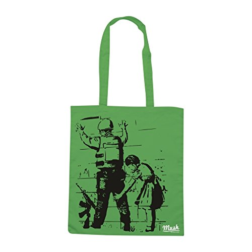Borsa Banksy Israel Wall - Verde prato - Famosi by Mush Dress Your Style