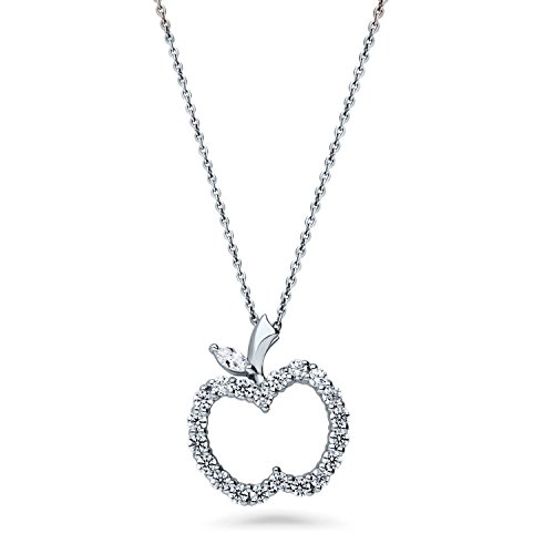 BERRICLE Rhodium Plated Sterling Silver Cubic Zirconia CZ Apple Fashion Pendant Necklace 18