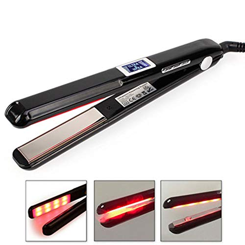 Hair Straightener Infrared Ultrasonic Hair Care Device Does Not Hurt Hair LCD Curler Electric Splint,Black