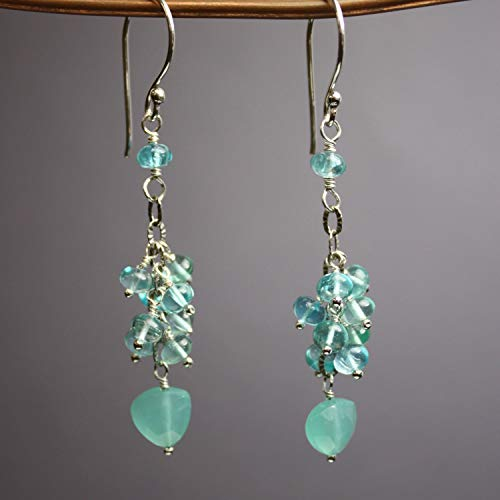 Apatite Chalcedony Earrings - Chalcedony and Apatite Dangle Earrings in Sterling Silver