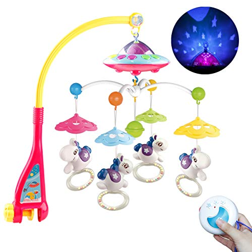 Mini Tudou Baby Mobile for Crib with Light and Music, Projector Rotation Remote Control Musical Box Crib Holder for Newborn Baby Boys Girls 2019 New Version