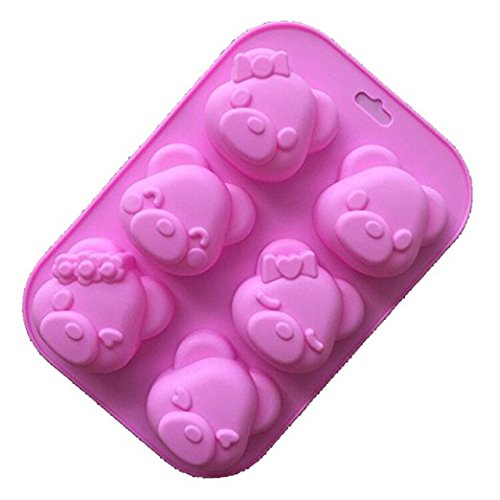 Silicone Bakeware 6 Different Bear Face Expression Shapes Cake Mold Cute Ice Cube Chocolate Cookie Fondant DIY Reusable BPA Free Cupcake Mould Baking Tray - Different Of Shapes Faces