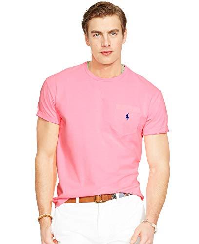 Polo Ralph Lauren Mens' Big and Tall T-Shirt Jersey Crew Neck Pocket T-Shirt (2XLT, Pink)