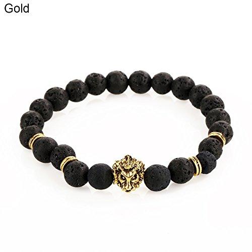 Wintefei 1Pc Men Fashion Lava Stone Cool Lion Head Adjustable Beaded Cuff Charm Bracelet
