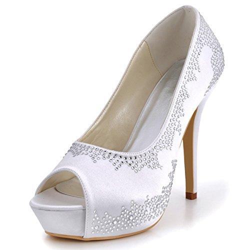 Elegantpark Ep2025 Vrouwen Avondfeest Peep Toe Platform Hoge Hak Satijn Bruids Schoenen Wit