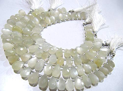 Natural White Moonstone Tear Drop Shape Briolette Beads Size 7x12 mm Strand 8 inches Long, White Gemstone Jewelry Making Beads ()