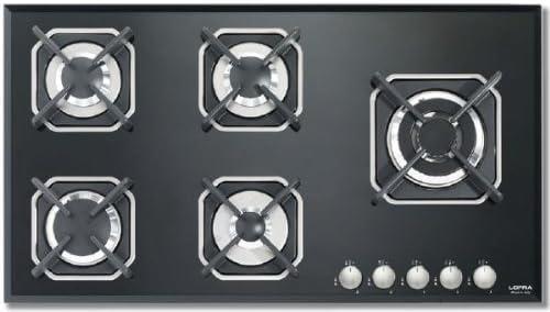 Placa Lofra HGN950 Integrado Encimera de gas Negro Integrado, Encimera de gas, Vidrio, Negro, hierro fundido, Derecho
