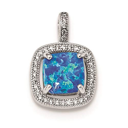 Sterling Silver Blue Square Created Opal with CZ Charm Pendant (Opal Square Charm)
