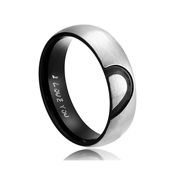 234fa4203e035 ANAZOZ His & Hers Real Love Heart Promise Ring Stainless Steel Couples  Wedding Engagement Bands Top Ring, 6mm