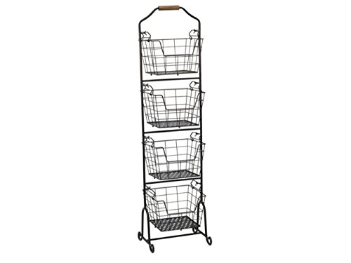 Gourmet Basics by Mikasa 5228872 Ferme 4-Tier Metal Floor Standing Fruit/Home Storage Market Basket, Large, Antique Black