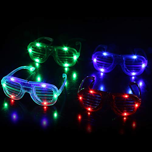 Fun Central T001, 12 Pcs, Assorted LED Light Up Slotted Shades, LED Party Sunglasses, Glow Sunglasses, LED Slotted Sunglasses, LED Eyewear for Birthdays, Concerts and -