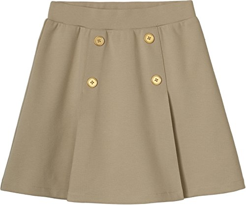 French Toast Girls' Little Pull-on Pleat Scooter, Khaki, S (6/6X) by French Toast