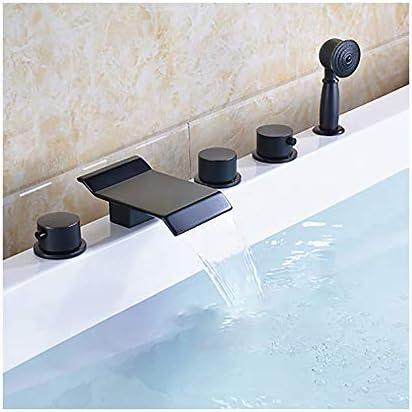 黒ブロンズ浴槽の蛇口真鍮バスルームの浴槽の蛇口3ハンドル5穴シャワーの蛇口セットデッキマウント滝浴槽タップホースを含む