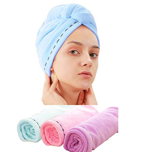 (3 Pack Microfiber Hair Towel Wrap BEoffer Super Absorbent Twist Turban Fast Drying Hair Caps with Buttons Bath Loop Fasten Salon Dry Hair Hat Pink Blue)
