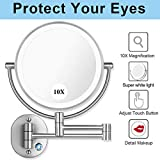 AmnoAmno 8.5' LED Double Sided Swivel Wall Mount Vanity mirror-10x Magnification,13.7' Extension,3 Colors Mode Adjustable Light Mirror for Bedroom or Bathroom (Wall Mount Mirror)