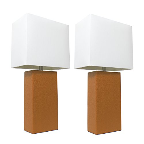 (Elegant Designs LC2000-TAN-2PK 2 Pack Modern Leather Table Lamps with White Fabric Shades 3.9