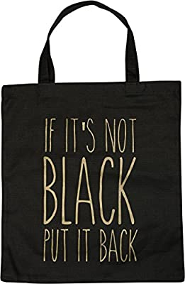 30a5983c2 styleBREAKER bolsa para compras con frase estampada «IF IT'S NOT BLACK PUT  IT BACK», bolsa, bolsa de tela, bolso, unisex 02012207, color:Negro