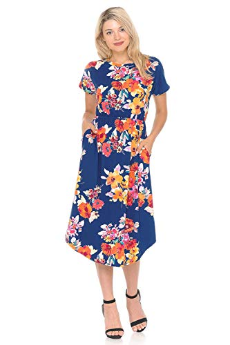 iconic luxe Women's Short Sleeve Flare Midi Dress with Pockets Small Floral Navy Fuchsia