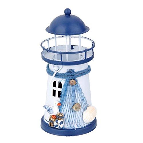 MagiDeal Painted Lighthouse Tealight Nautical