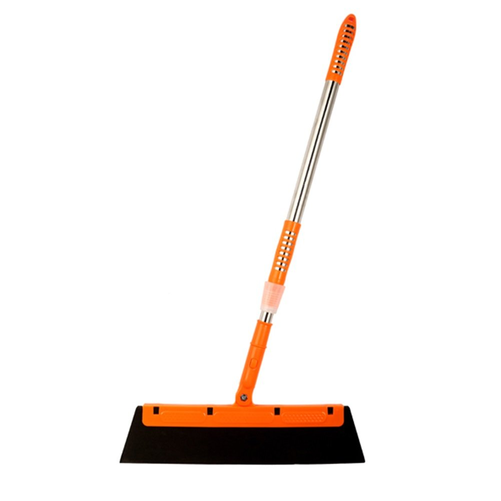 Frjjthchy Non-stick Sponge Floor Broom,Stainless Steel Retractable Bathroom Squeegee for Window Cleaning (Orange)