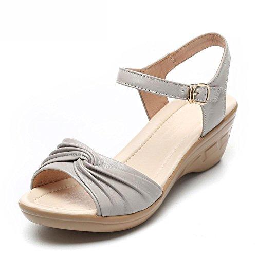 QL@YC Frauen Sandalen Sommer Steigung Mit Leder High Heels Großer Fisch Mund Non Slip Soft Bottom Schuhe , grey , 39