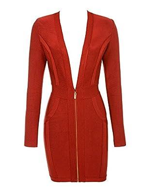 UONBOX Women's Long Sleeves Deep V Plunge Neck Short Mini Fall Bandage Dress Club Dress