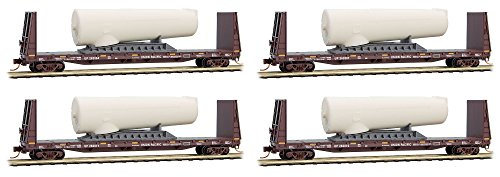 Micro-Trains MTL N-Scale Bulkhead Flat Cars Union Pacific/UP Turbines - 4-Pack (Flat Car Union Pacific)