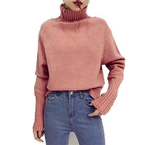 XGMSD Suéteres Flojos Femeninos Otoño Invierno Caliente Simple Bottoming Shirt Pink