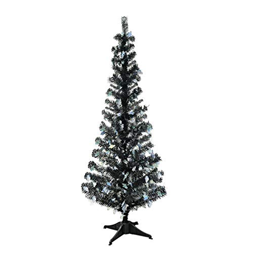 YuQi 5 Foot Black Tinsel Tree,Artificial Christmas Tree with Ghost Shimmering Sequins -