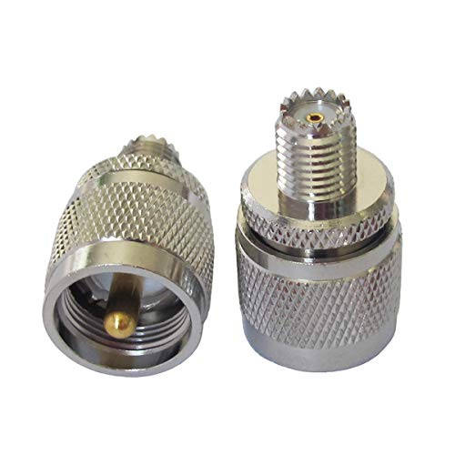 PL-259 UHF Male PL259 to Mini UHF Female RF Coaxial Coax Connector Straight Adapter (Pack of 2)