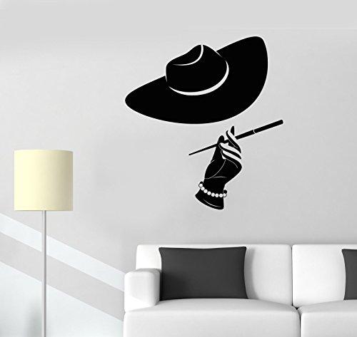 (Vinyl Wall Decal Women's Hat Cigarette Pearl Elegant Lady Stickers 2549)