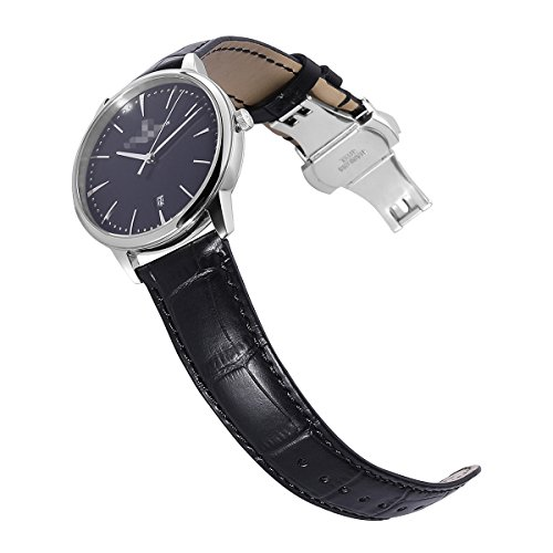 Calfskin Watch Band Genuine Calf Leather Replacement 18mm 19mm 20mm 21mm 22mm 24mm Strap Wrist Watchband Button Deployment Buckle for Women Men (Band Leather Watch Millimeter 21)